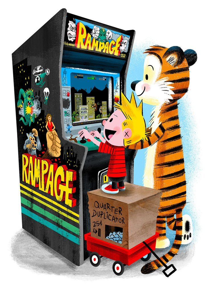 """Rampage"" by Luke Flowers Calvin And Hobbes AP Edition Digital Print"