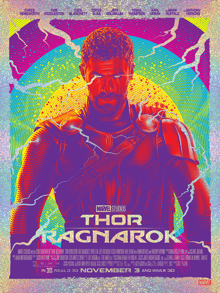 """God of Thunder"" by Tracie Ching Thor Ragnarok Foil Screen Print"